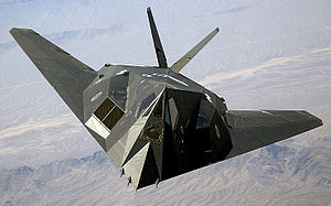 The F117-A Nighthawk 'Stealth Bomber'.